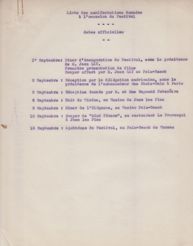 List of events scheduled for the 1939 Festival de Cannes