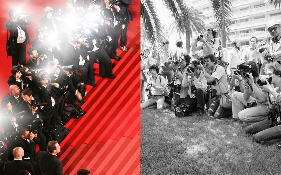 Photographers during the Festival de Cannes in 2010 and 1979