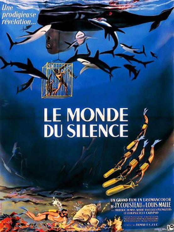 Cartel de El mundo del silencio de Jacques-Yves Cousteau y Louis Malle