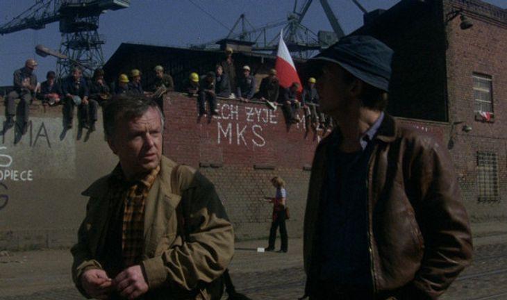Boguslaw Linda and Marian Opania in Man of Iron by Andrzej Wajda