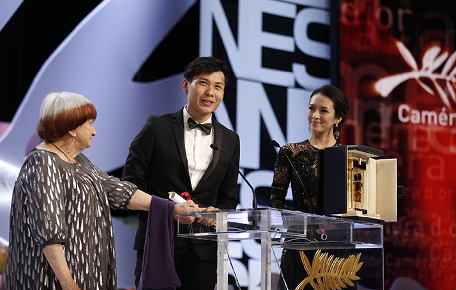Agnès Varda, Anthony Chen and Zhang Ziyi © AFP