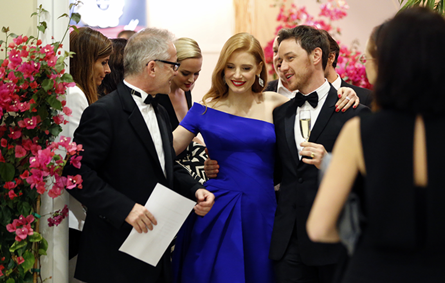 Thierry Frémaux, Jessica Chastain y James McAvoy © FDC / KV
