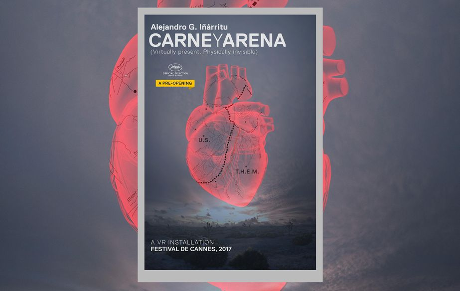 Poster of the virtual reality installation Carne y Arena (Virtually Present, Physically Invisible)